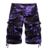 WDDGPZDK Strand Shorts/Military Camo Cargo Shorts Sommer Mode Camouflage von Mehrfachblöcken Mann Armee Lässige Shorts S Männlich, Lila, 34