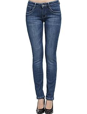 Camii Mia Damen Slim Fit Flanell Gefüttert Denim Freizeit Jeans