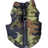 OHQ Manteau de Chien de Chat Veste Pour Animaux de Compagnie Vêtements Vêtements d'hiver Chiot Costume Veste de Camouflage à Glissière Chaude Avec un Gilet (XS, Vert)