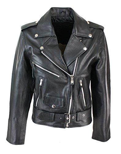 Blouson cuir perfecto femme style Brando biker motard couleur no