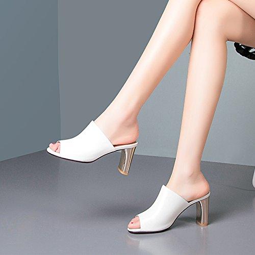 ZYUSHIZ Frau Das erste Feld Hausschuhe Sandalen aus Leder Bold Text mit High-Heel coole Hausschuhe Weiß