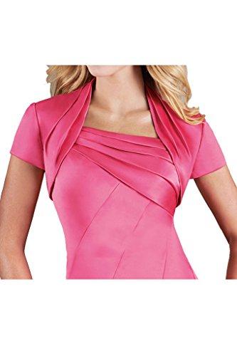 Missdressy Damen Satin Abendkleid Falte Partykleid Lang Traeger Blume Pink