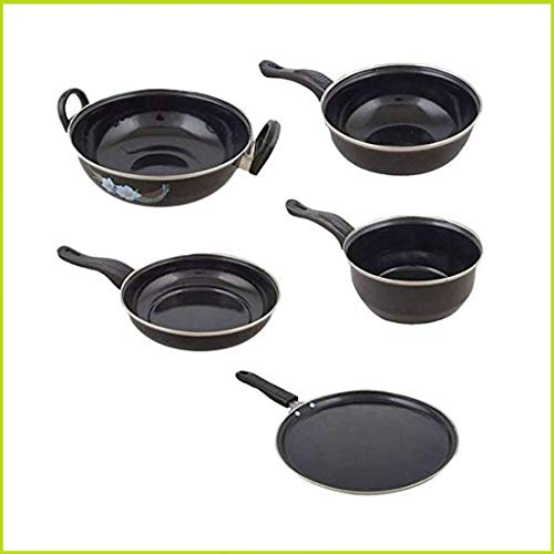 Fitbloom Cookindia Perfect Collections Non-Stick Set of 5 Pieces Induction Base Cookware Set (Black)