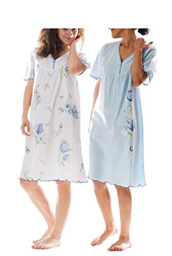 Kurzarm-nachthemd (Consult-Tex Damen Kurzarm Nachthemd Baumwolle 2 Stück Packung Knopfleiste DF844-845 52/54)