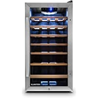 Klarstein Vivo Vino 26 Wine Refrigerator • Cooler • Fridge • 26 Bottles • 88 Litres • Stainless Steel • LED Interior • Touch Fitting • Lockable and Double-Insulated Glass Door with Handle • Mountable on Both Sides • 6 Removable Wooden Shelf Bays • Silver