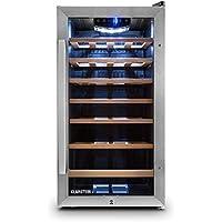 Klarstein Vivo Vino 26 Cave à vins (26 bouteilles, lumière LED, 6 étagères, 88L, température réglable, 5-18°, Fonctionnement silencieux) - noir