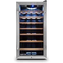 Klarstein Vivo Vino 26 Vinoteca (26 botellas, capacidad 88 litros, iluminación LED, control táctil de temperatura, puerta de vidrio, acero inoxidable, estantes extraíbles) - negro
