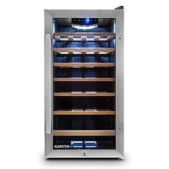Klarstein Vivo Vino 26Cave Frigo pour vin, 26bouteilles, capacité de 88litres, éclairage LED, contrôle tactile de la température, porte en verre, acier inoxydable