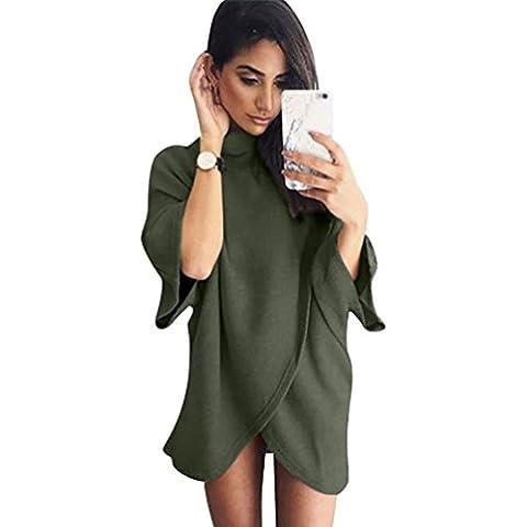 YouPue Mujeres Prendas de Punto Jerseys Manga Larga De Cuello Alto irregular Suéteres Tops Pullovers Tops