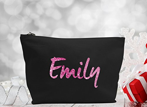 Personalised Name Make Up Accessory Bag In Black or Natural Colour any Name Metallic or Glitter Print The Perfect Gift For any Occasion, Christmas, Birthdays Weddings (Black Bag, Glitter Pink)