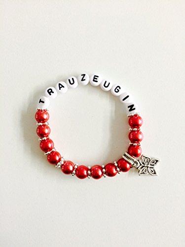 Personalisiertes Armband Trauzeugin, auch gerne mit Name, Gastgeschenk, Geschenk zur Hochzeit, Geburtstag, Perlen (rot)