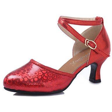 XIAMUO Pailletten Latin Tanzschuhe weiblichen Erwachsenen weichen Boden mit Tanz Schuhe im Sommer Leuchtet rot