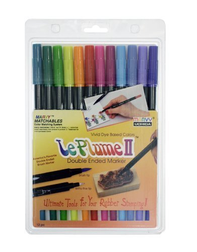 Uchida 1122-12E Le Plume II Double-Ended Markers with Brush and Fine Tips, Bright, Set of 12 by Uchida