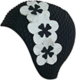 Ladies Swim Hat Swimming Hat Black With 3 White Flowers Fashy Bathing Cap Vintage Retro Style Flowers