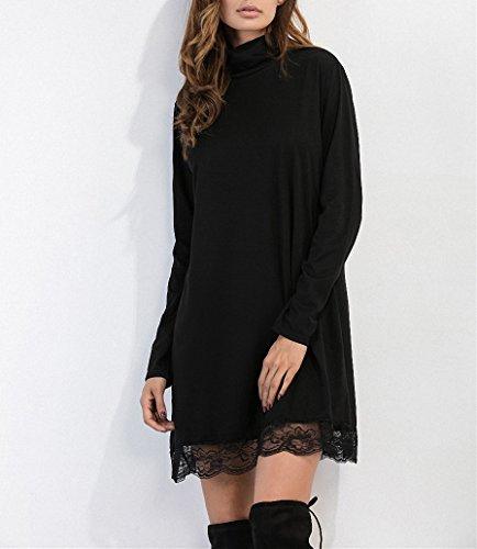 Femme Noire Soirée Robes A-ligne Robe Unie Décontractée Manches Longues De Dentelles Noir