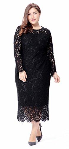 La Vogue-Vestito Medio Lungo con Lace da Donna Plus Size Slim Abito Nero