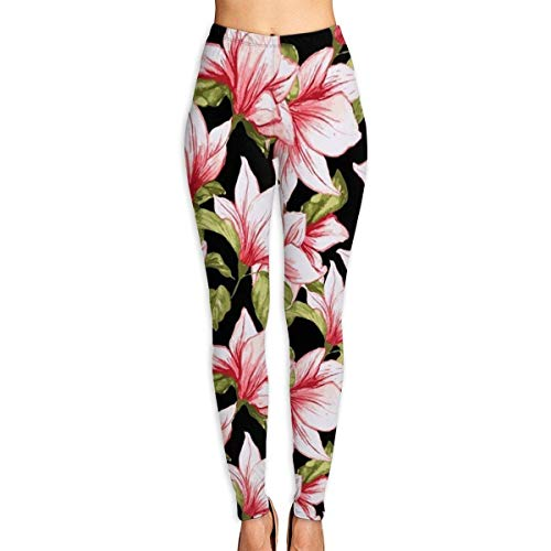 Ewtretr Yoga Pilates Hosen Fitnesshose für Damen, Beauty Pink Floral Flowers Printed Leggings Full-Length Yoga Workout Leggings Pants -