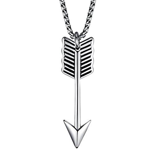 Man Of Neue Steel Kostüm (HIJONES Herren Edelstahl Silber Indische Arrowhead Halskette Arrow Anhänger Keine)