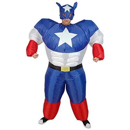 MIMI KING Gonfiabile Capitan America Superman Costume Sumo, Adult Halloween Blow Up Cosplay Divertente