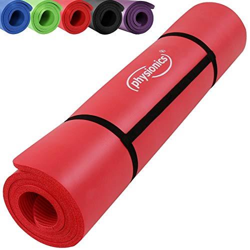 Yogamatte   180 x 60 cm x 1,5 cm in verschiedenen Farben mit Tragegurt   Gymnastikmatte, Fitnessmatte, Bodenmatte, Pilates, Rutschfest (Rot)