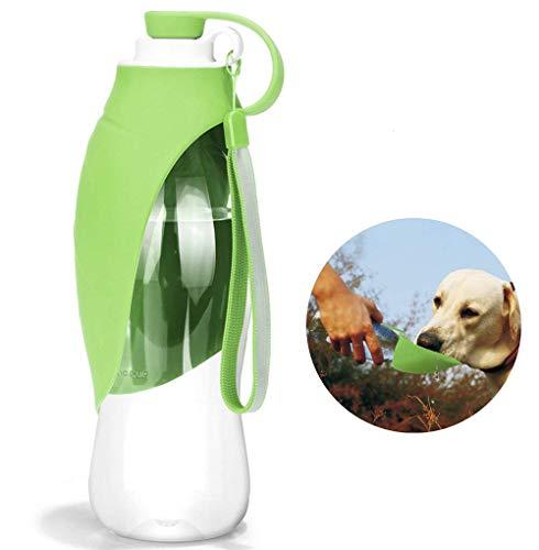 HJHY Botella de agua portátil para mascotas, dispensador de agua de viaje reversible y ligero para perros o gatos, hecha de silicona para alimentos (20 oz) (Green)
