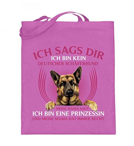 Hochwertiger Jutebeutel (mit langen Henkeln) - SCHÄFERHUND PRINZESSIN Pink