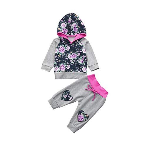 Kleidung, 2 stücke Kleinkind Baby Mädchen Kleidung Set Floral Herz Hoodie Tops + Hosen Outfits (18-24M(100), Grau) ()