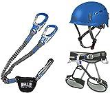 LACD Klettersteigset Pro Blue + Klettergurt Start Blue Größe M + Helm Protector 2.0 Blue