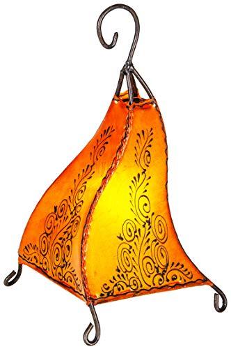 Orientalische Tischlampe Rahaf 35cm Lederlampe Hennalampe Lampe | Marokkanische kleine Tischlampen aus Metall, Lampenschirm aus Leder | Orientalische Dekoration aus Marokko, Farbe Orange (Papier Arabisch)