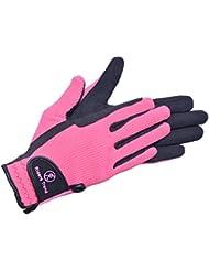 Riders Trend Amara/algodón caballo Equestrian–Guantes de equitación, color negro/rosa, tamaño mediano