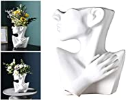 Face Vase, White Art Avatar vase, Creative Resin Imitation Plaster vase, Character Statue Flower Arrangement A