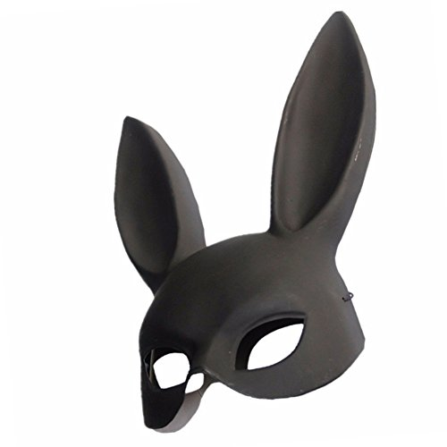 MeterMall Männer Frauen Ostern Halloween Maskerade Bunny Rabbit Maske Kostüm Zubehör für Erwachsene(Black)