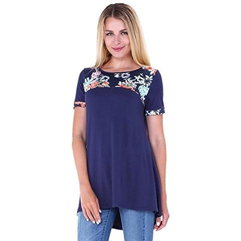 Femmes T-Shirt, IMJONO Femmes Dames Été O Neck Impression T-shirts Décontractée Tops lâches Chemisier Tee (XL,