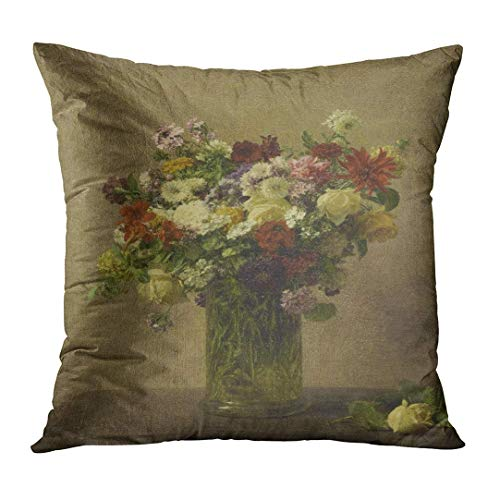 Zengyan Throw Pillow Cover Flowers from Normandy by Henri Fantin Latour 1887 French Impressionist Painting Oil on Canvas Bouquet Decorative Pillow Case Home Decor Square 18