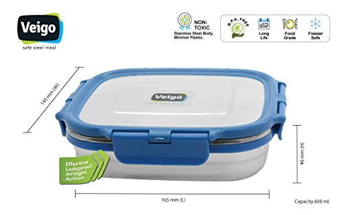 27ba11de67e Buy Veiki VEIGO Stainless Steel Lunch Box (BIG) (blue) Online at Low Prices  in India