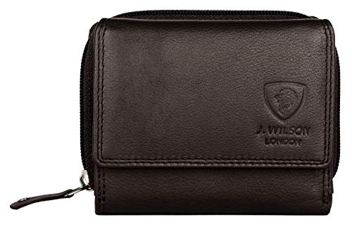 2b897458d79e Ladies Designer RFID SAFE Protection Luxury Quality Soft Nappa Leather  Purse Multi Credit Card Women Clutch Wallet with Zip pocket (Brown)