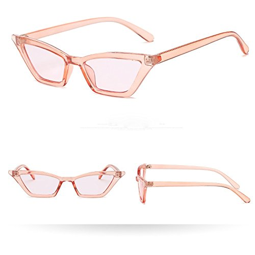 Makefortune Sonnenbrille, Frauen-Weinlese-Katzenaugen-Sonnenbrille-Retro- kleiner Rahmen UV400...