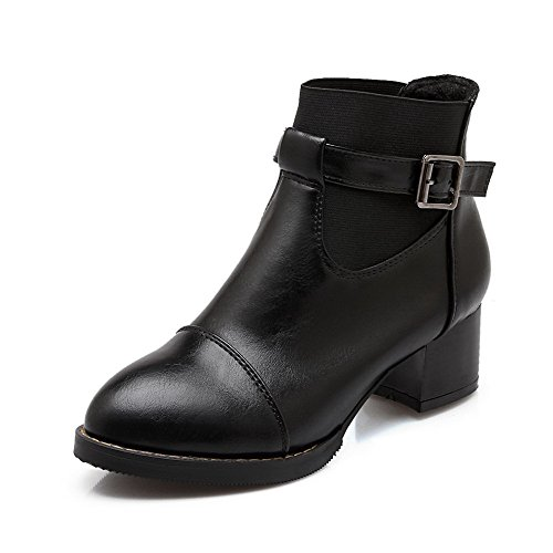 AalarDom Damen Reißverschluss Mattglasbirne Weiches Material Rund Schließen Zehe Stiefel, Schwarz, 39