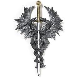 "Gifts & Decor Par de la placa de pared de dragones medievales con cuchillo daga 9 1/2""x 3"" x 12""alto. Gris"