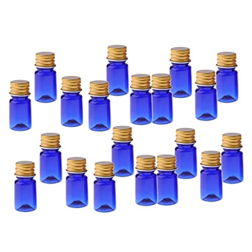 Blau Aromatherapie (T TOOYFUL 20 Nachfüllbare Leere Flaschen Für ätherisches Öl, Parfüm Und Aromatherapie Mini Größe (5 Ml) Für Die Reise - Blau - Golddeckel)