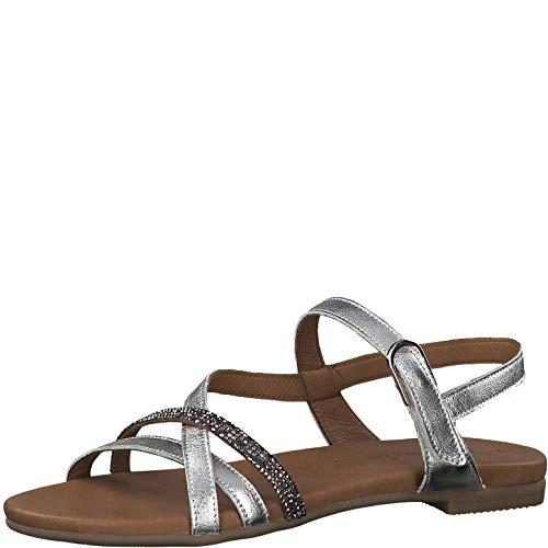 Tamaris 1-1-28120-22 Damen Riemchensandale,Sandale,Sandalette,Sommerschuh,bequem,flach,Touch-IT,Silver,38 EU (Bäcker Schuhe Sandalen)