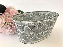 Idea Regalo - Homes on Trend Vaso da fiori con pianta ovale/Fioriera con cuori in metallo/Secchio stile shabby vintage/Vassoio da tavolo rustico con fiori Vaso da giardino/Decorazione floreale