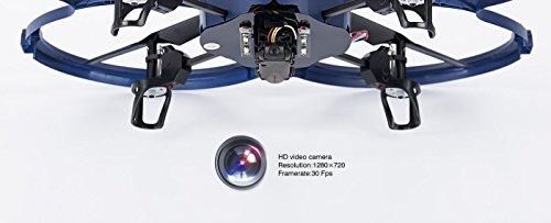 UDI RC U818A-1 HD UPGRADE SafeFly Special Edition mit Extra 3 POWER AKKUS-HD Kamera mit Tonaufzeichnung, 4 GB Micro SD Speicherkarte & SafeFly Sonnenbrille, Akku-Warner, 4.5 Kanal Drohne, LCD Display, GYROSCOPE-TECHNIK + 2,4Ghz TECHNOLOGIE, für INNEN und AUSSEN! FLUGFERTIG! - 5