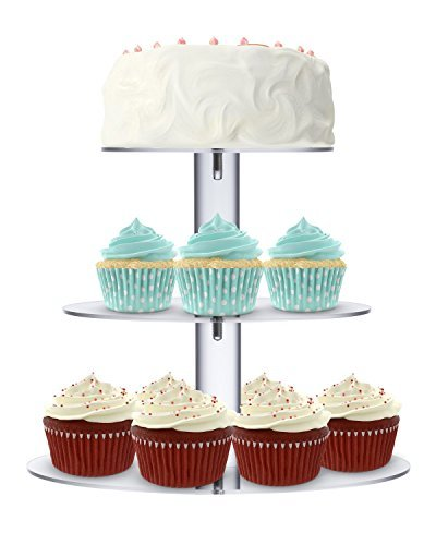Utenlid acrílico 3-Tier redondo apilados Party Cupcake soporte con estable para atornillar, pilares–niveles Cupcake soporte/magdalena Torre