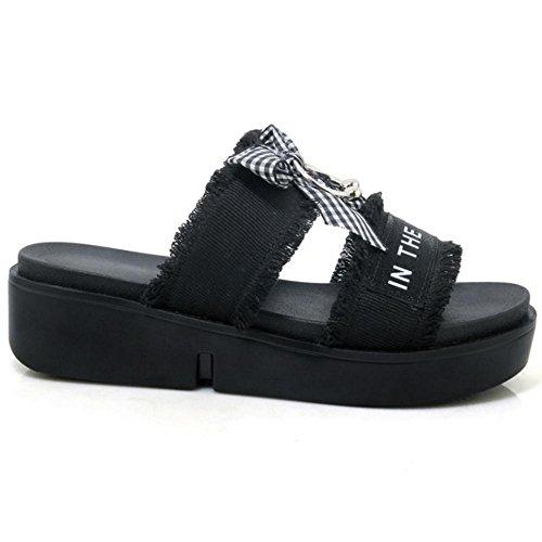 JOJONUNU Femmes Compensees Mules Sandales Black