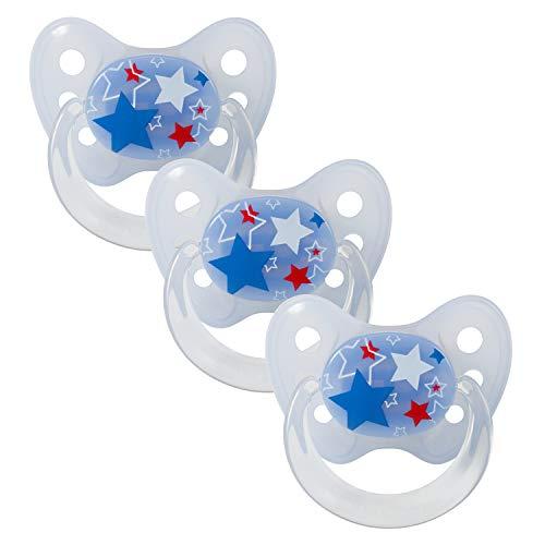 Dentistar® Schnuller 3er Set- Nuckel Silikon in Größe 3, ab 14 Monate - zahnfreundlich & kiefergerecht - Beruhigungssauger für Babys - Sterne Blau