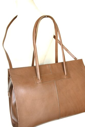 Leather ladies business bag / Briefcase / laptop bag con tracolla ( 49 / 28 / 13 cm)pelle Italia mod. 2026 p Taupe