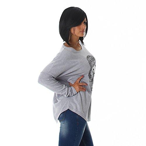 VOYELLES Damen Feinstrick Pullover mit langen Ärmeln und einen, auf der Vordeseite, mit Pailetten und Strasssteinen besetzter Toteskopf, elegant, Größe 34-38, Oversize Grau