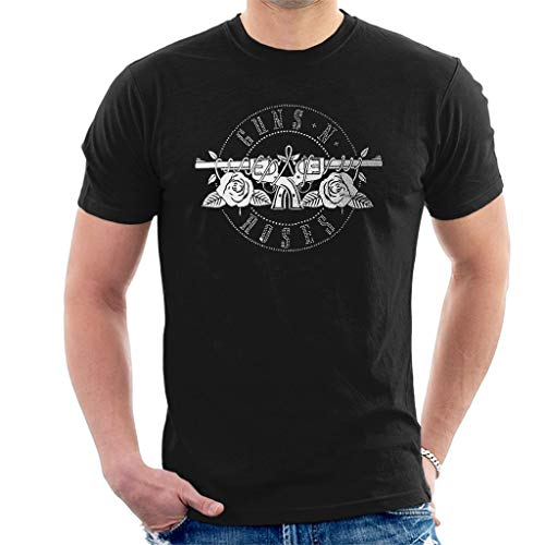Guns N' Roses Diamant Circle Logo Kurzarm Herren T-Shirt Schwarz Medium - Diamant-logo-t-shirt