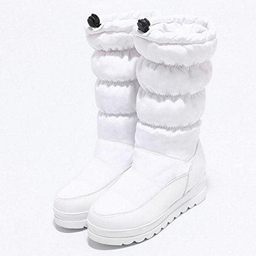 TAOFFEN Femmes Mode Plat Space Cotton Bottes de Neige Mi-mollet Chaud Bottes 1472 White